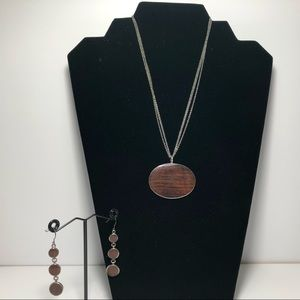 Jewelry - Sterling Silver and Wood Necklace and Earring Set